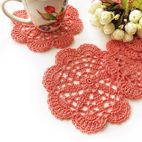 Coral kitchen accessories, Crochet cotton doilies, Small lace doilies