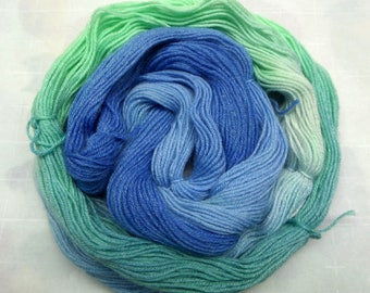 Sock Yarn, Wool, Bamboo, Nylon :  2 Hand Dyed Mini-Skeins, Hand Painted Yarn, Shades of Blue, Shades of Green, Teal, Sapphire.