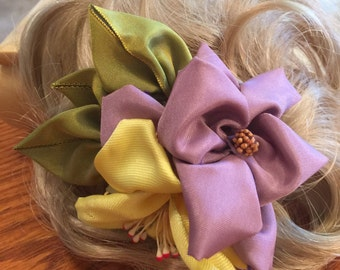 Yellow & Lavender Rose Hair Clip