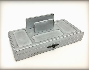 Grey Hand Painted Vintage Mens Valet, Solid Wood Catchall Tray, Gift For Father, Mens Dresser Box, Phone Keys Desk Organizer, OOAK
