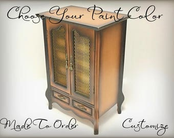 Vintage French Provincial Jewelry Armoire, Personalized Custom Jewelry Box, Gift For Wife, Daughter, Tall Standing Armoire, Made To Order