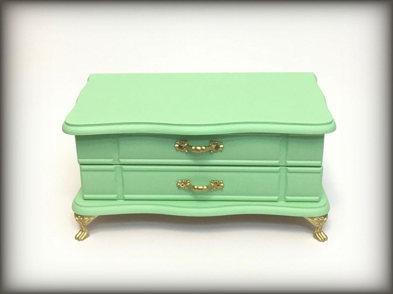 Mint Green Jewelry Box, Vintage Trinket Keepsake Box, Girls Jewelry  Organizer, Monogram or Name Included  Gift for daughter, teen tween girl