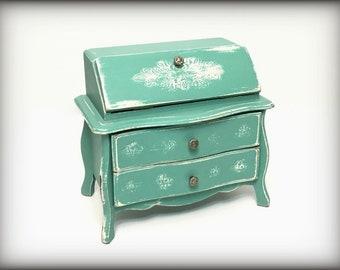 Aqua Vintage Music Box, Hand Painted Cottage Chic Secretary Style Jewelry Armoire Trinket Keepsake Storage Romantic Gift for Wife Girlfriend