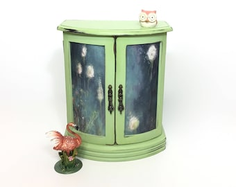 Jewelry Armoire, Hand Painted Green Jewelry Box, Wooden Jewelry Box, Gift For Wife, Daughter, Best Friend Gift, Chic Upcycled, OOAK, Armoire