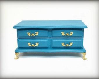 Aqua Jewelry Box, Hand Painted Vintage Jewelry Trinket Keepsake Organizer, Peacock Blue Wooden Jewelry Box, Girls Jewelry Box, Upcycled OOAK