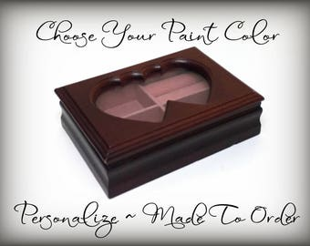 Jewelry Box, Twin Heart Frame for Your Picture, Hand Painted Custom Paint Colors, Personalize, Custom OOAK Gift Upcycled Made To Order