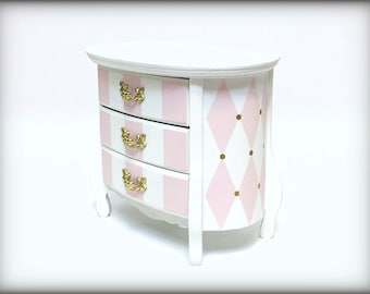 Pink White and Gold Musical Jewelry Box, Vintage French Provincial Wooden Girls Jewelry Box, Personalized Monogrammed, Baby Girl Shower Gift
