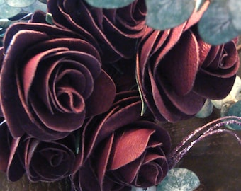 Leather Designer Roses By D'Agostino. Hand-Tooled Floral Arrangement, Anniversary And Bridal Bouquet's And Groom Boutonnieres. Single-Dozen.