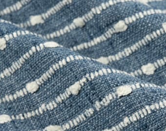 P. Kaufmann Deja Vu Horizon Blue Texture Stripe Upholstery Fabric By The Yard // Nubby Stripe Fabric // Blue Striped Fabric // 006