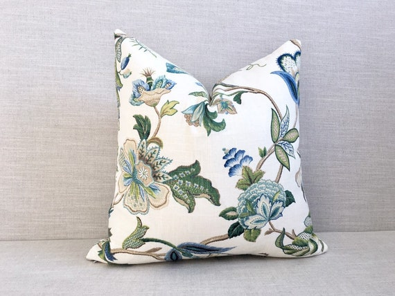 Green Blue Floral Throw Pillow Cover Decorative Designer Etsy