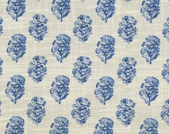 True Blue Block Print Floral Upholstery Fabric By The Yard // Drapery Fabric // Bright Blue Floral Fabric // Small Pattern Floral // 269
