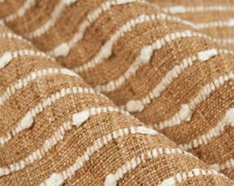 P. Kaufmann Deja Vu Harvest Golden Brown Texture Stripe Upholstery Fabric By The Yard // Nubby Stripe Fabric // Golden Fabric // 006