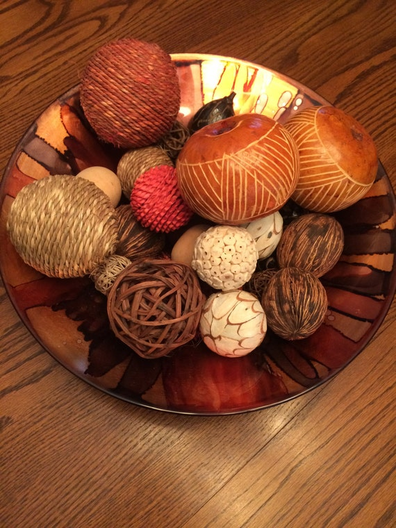 Decorative Glass Bowl Centerpiece With Assorted Balls Etsy