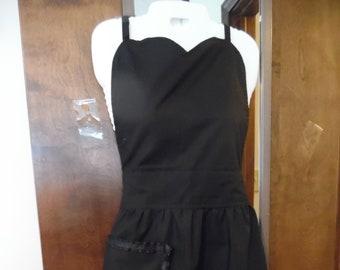 Adult Apron with flirty sweet heart neckline, black fabric, ribbon trim,