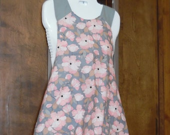Adult Apron pink floral with flounce