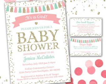 It's a Girl Baby Shower Invitation, Pink and Mint Baby Shower, Girl Baby Shower, Baby Shower Invite, Girl Baby Shower, Printable Invitation