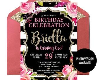 Black And White Stripes Floral Invitation Gold Striped Birthday Invite Printable Stripe