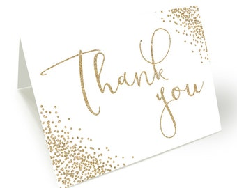 Thank You Card, Gold Glitter Thank You Card, Faux Gold Glitter Thank You Card, Instant download, Thank You Card, Printable Thank You Card