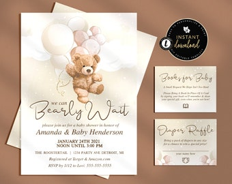 Teddy Bear Baby Shower Invitation Suite, We can Bearly Wait, Bearly Wait Baby Shower Invitation, Editable Baby Shower Invitation Suite