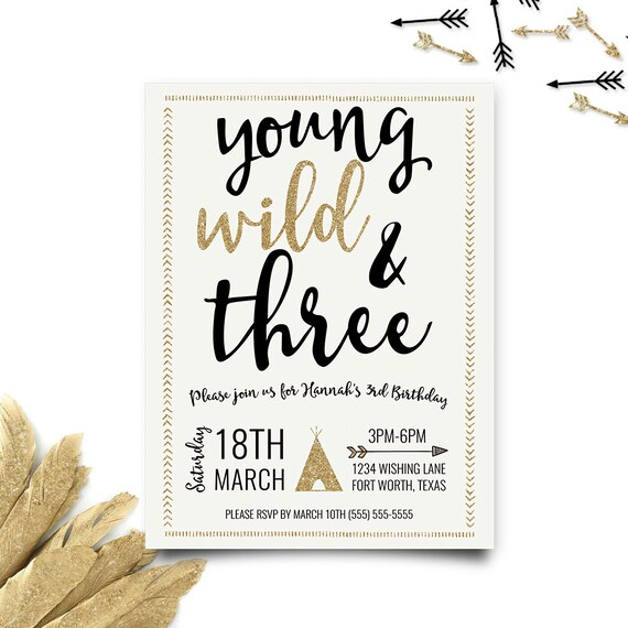young wild and three birthday invitation third birthday etsy