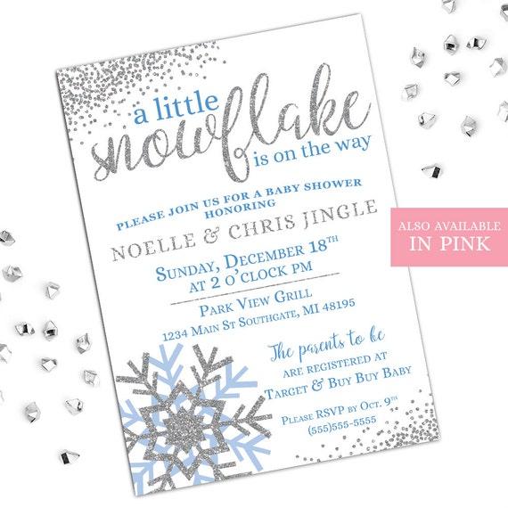 snowflake baby shower invitations