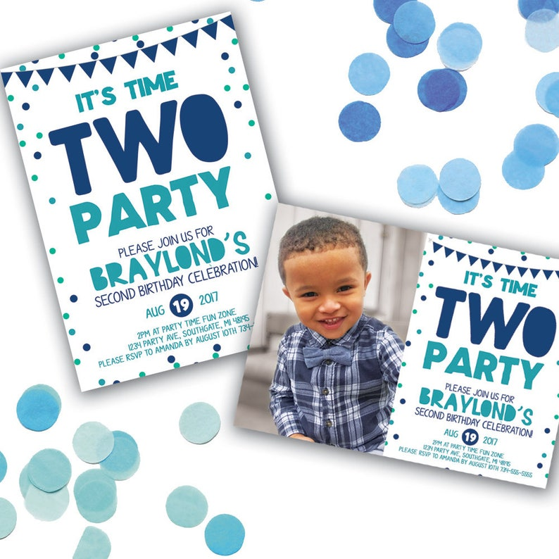 Time Two Party Birthday Invitation Second