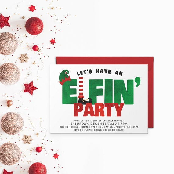 Funny Christmas Party Invitation Let S Have An Elfin Party Funny Christmas Card Funny Christmas Invite Digital Christmas Party Invite