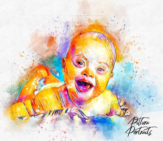 retrato regalo bordado bebe con foto con nombre Babero personalizado niño