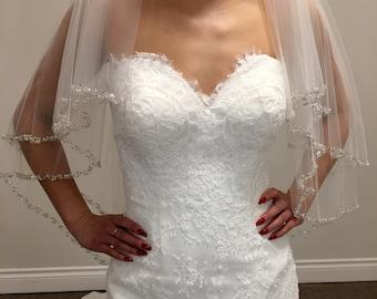 Sparkle Trim Bridal Veil - Beads, Pearls, Sequins, Rhinestones - Cathedral Length Sparkle Veil, Short bridal veil, Tulle View, Bridal veil