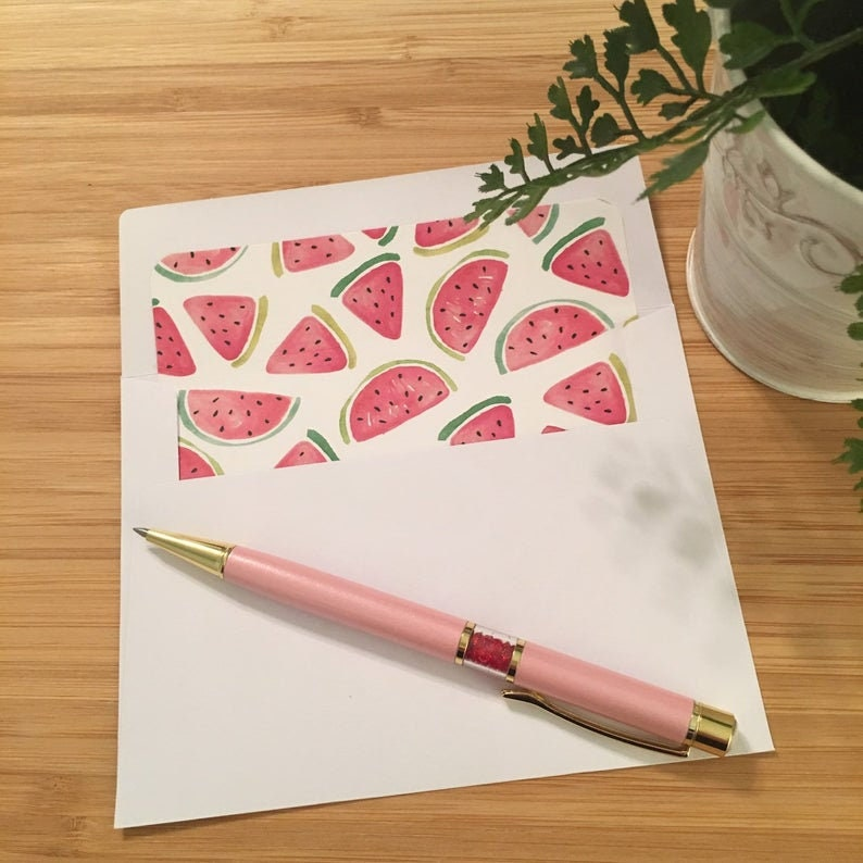 Set of 10 Watercolor Watermelon Lined Envelopes