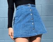 Vintage 90s Jean Mini Circle Skirt Button Front