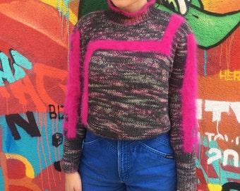 Vintage Purple Pink Fuzzy Sweater 1990s