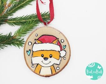 Fox, ORNAMENT, log, hand-painted, Christmas, Christmas decoration, souvenir, Baloubab