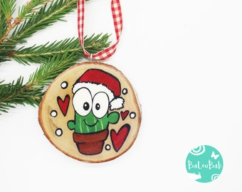 Cactus, ORNAMENT, log, hand-painted, Christmas, Christmas decoration, souvenir, Baloubab