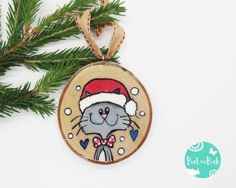 Cat, ORNAMENT, log, hand-painted, Christmas, Christmas decoration, souvenir, Baloubab