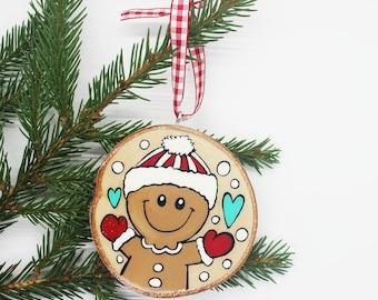 Gingerbread, CHRISTMAS ORNAMENT, log, hand painted, Christmas, Christmas decoration, souvenir, Baloubab