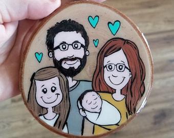 Family portrait, ORALAS, log, hand-painted, Christmas, Christmas decoration, souvenir, Baloubab