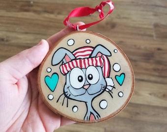 Rabbit, CHRISTMAS ORNAMENT, log, hand painted, Christmas, Christmas decoration, souvenir, Baloubab