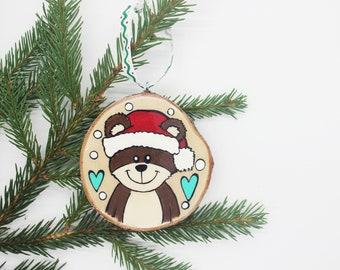 Pooh, CHRISTMAS ORNAMENT, log, hand painted, Christmas, Christmas decoration, souvenir, Baloubab