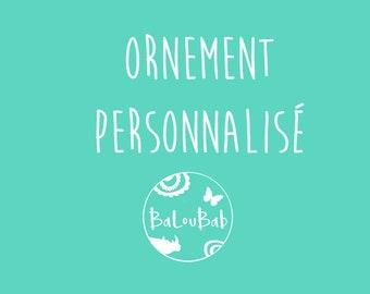 PERSONALIZED ORNAMENTAL NOEL, log, hand-painted, Christmas, Christmas tree decoration, Christmas souvenir, Baloubab