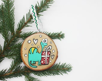 dino, CHRISTMAS ORNAMENT, log, hand painted, Christmas, Christmas decoration, souvenir, Baloubab
