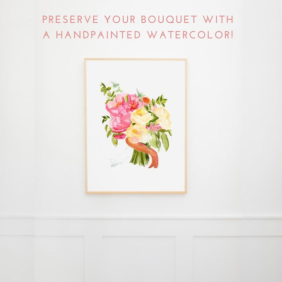 Anniversary Gift for Wife a Custom Wedding Bouquet Painting   Etsy