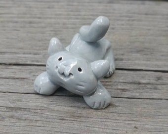 Gray Kitty Little Guys Ceramic Figurine