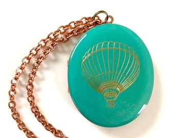 Life is an Adventure! Engraved Hot Air Balloon Vintage Oval Locket 46mm x 38mm