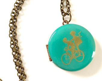 """Classic image of kids """"double dinking"""" on a bike... Engraved Vintage Locket 30mm Patina Blue with 60cm or 80cm Chain"""