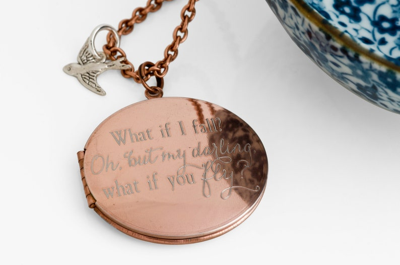 but darling what if you fly? .... What if I fall? Oh Engraved Vintage 38mm Locket with Bird Charm