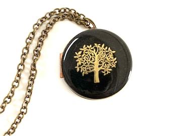 Engraved Vintage Tree Locket 30mm with Worn Black Finish