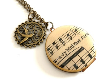Weary Bird That Flies Original Sheet Music... Vintage 38mm Locket with Bird Charm *One of a kind gift*