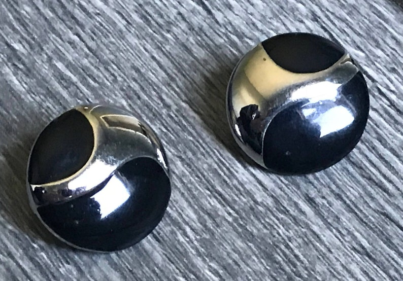 1990/'s Vintage Reflecting Mirror Earrings Clip On Earrings Earrings for Her Statement Earrings Gifts For Her Black and Silver Earrings