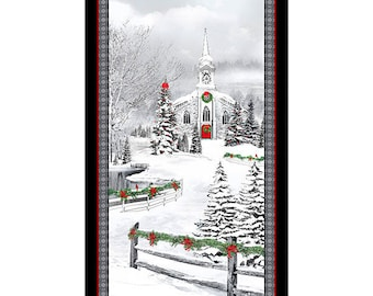 1649 25896 X HOME FOR THE Holidays Church Panel Quilt Fabric Quilting Treasures Nancy Fullenwider Christmas Country